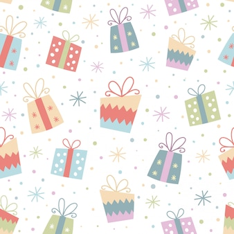 Colorful seamless pattern with gifts.