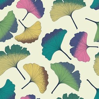 Красочный фон с листьями гинкго