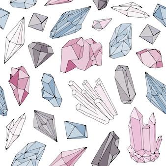 豪華な天然宝石、鉱物の結晶、白で描かれた貴重な半貴石の多面的な石の手でカラフルなシームレスパターン