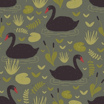 수생 식물 사이의 습지나 늪에 떠 있는 화려한 야생 검은 백조와 함께 다채로운 매끄러운 패턴입니다. 포장지, 섬유 인쇄, 벽지에 대한 평면 만화 스타일의 벡터 그림.