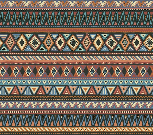 Colorful seamless pattern with hand drawn ethnic elements