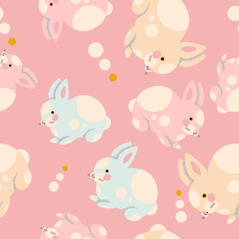 Colorful seamless pattern with hand drawn rabbits. trendy illustration in vector.