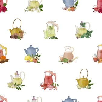 유리 찻주전자, 컵, 레몬, 허브, 향신료 등 차를 끓이고 마시기 위한 손으로 그린 도구로 다채로운 매끄러운 패턴입니다. 섬유 인쇄, 포장지, 벽지에 대한 우아한 벡터 일러스트.