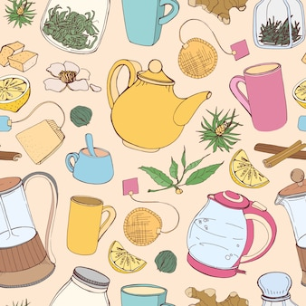Colorful seamless pattern with hand drawn tools for preparing and drinking tea - electric kettle, french press, teapot, cup, mug, sugar, lemon, herbs and spices. illustration for fabric print.