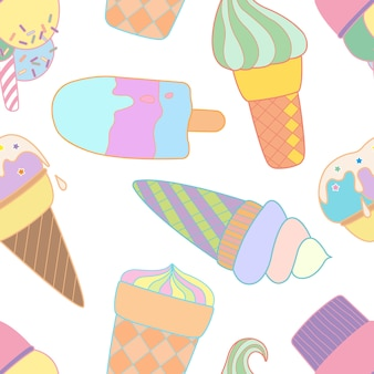 Colorful seamless pattern with ice cream cones.