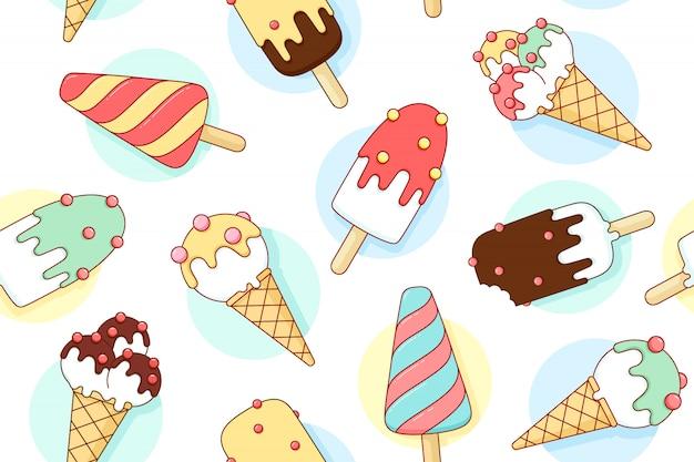 ライングラフィックの異なるパステルカラーのアイスクリームとカラフルなシームレスパターン