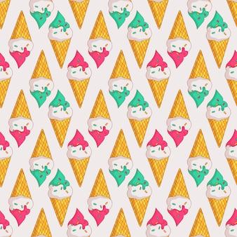 ワッフルコーンのアイスクリームとカラフルなシームレスパターン