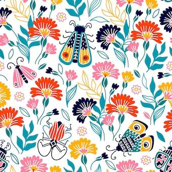 昆虫と花とカラフルなシームレスパターン。布や紙、その他の表面の印刷に使用できます。手描き漫画イラスト。