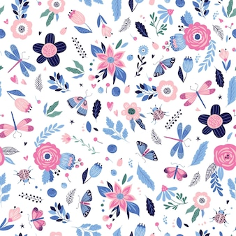 昆虫や花とカラフルなシームレスパターン。