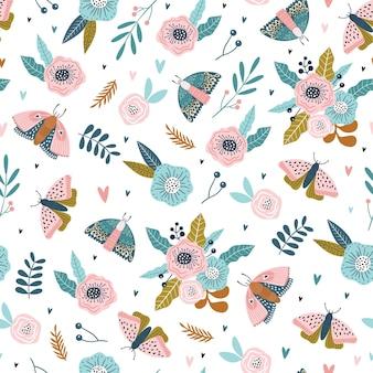 곤충과 꽃으로 다채로운 완벽 한 패턴입니다.