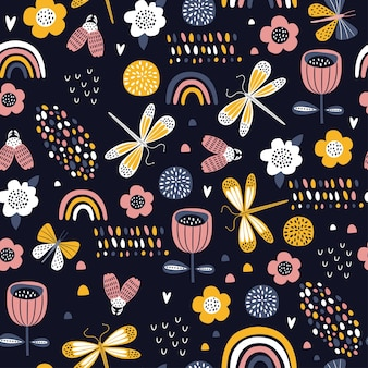 Colorful seamless pattern with insects and flowers.