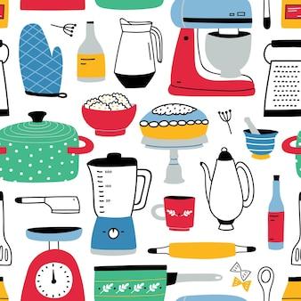 台所用品とカラフルなシームレスパターン。
