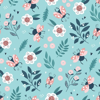 Colorful seamless pattern with ladybugs and flowers.
