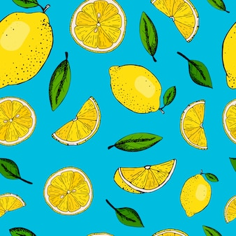 Colorful seamless pattern with lemons and leaves