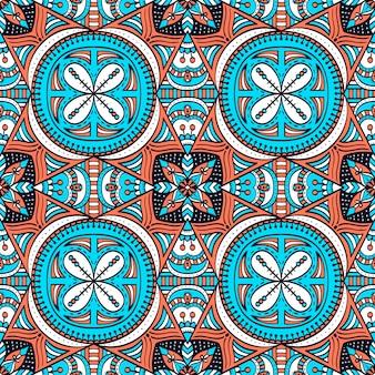 マンダラとカラフルなシームレスパターン