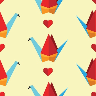 Colorful seamless pattern with origami birds. can be used for desktop wallpaper or frame for a wall hanging or poster,for pattern fills, surface textures, web page backgrounds, textile and more.