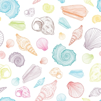 Colorful seamless pattern with outline seashells