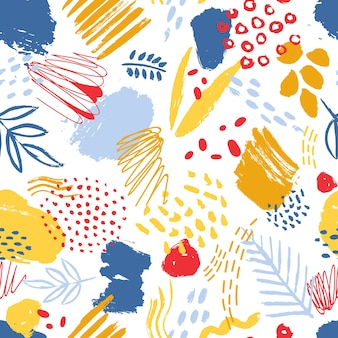 Colorful seamless pattern with paint traces, brush strokes, stains, marks, scribble and abstract leaves on white