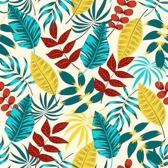Красочный бесшовный фон с красными и синими листьями и растениями