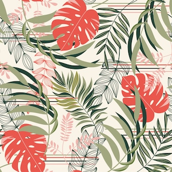 Colorful seamless pattern with red tropical plants