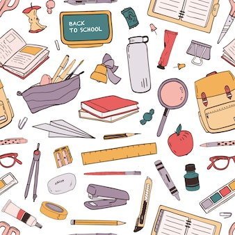 Colorful seamless pattern with scattered school supplies or stationery for education on white background. hand drawn illustration in realistic style for wallpaper, wrapping paper, fabric print.