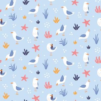 Красочная безшовная картина с чайками в векторе.