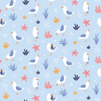Colorful seamless pattern with seagulls in vector.