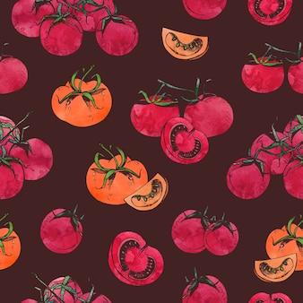 暗い上の枝にスライスした全体の赤いトマトとカラフルなシームレスパターン
