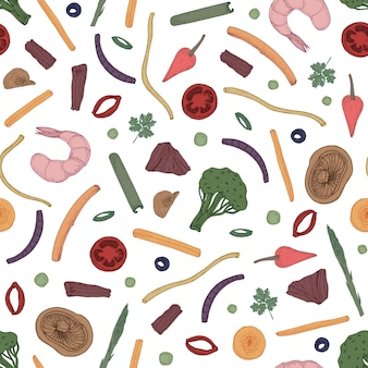 Colorful seamless pattern with sliced food