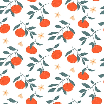 Colorful seamless pattern with tangerines.