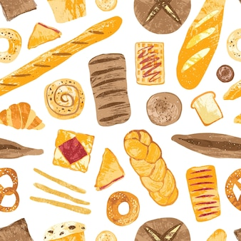 Colorful seamless pattern with tasty homemade baked breads, buns, baguettes, bagels, croissants, pretzels, toasts and wafers on white background.
