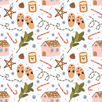 Colorful seamless pattern with traditional winter elements for christmas in hygge style.