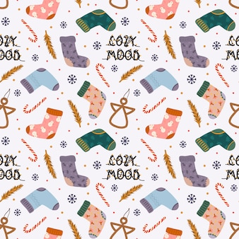 Colorful seamless pattern with traditional winter elements for christmas