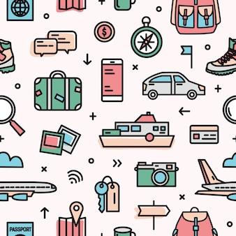 トランスポート、観光、冒険旅行ツールと明るい背景上の機器とカラフルなシームレスパターン。包装紙、背景のモダンなラインアートスタイルのクリエイティブイラスト