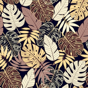 Colorful seamless pattern with tropical plants on dark background