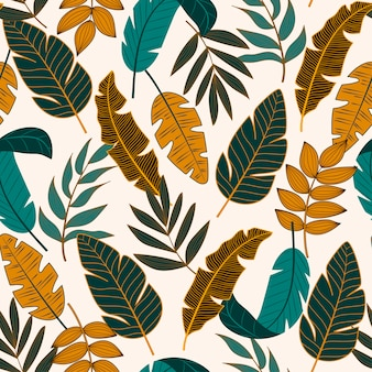 Colorful seamless pattern with tropical plants