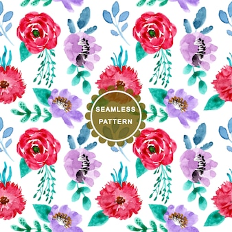Colorful seamless pattern with watercolor flower