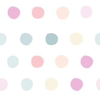 柔らかいパステルカラーのカラフルなシームレス水玉模様子供の背景