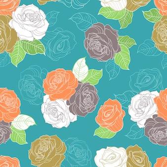 青い背景の上のカラフルなシームレスなバラのパターン