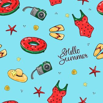 カラフルなシームレスな夏の背景。