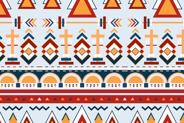 カラフルなシームレスな部族パターンの背景ベクトル