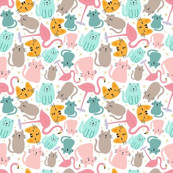Colorful seamless vector pattern with cute animals on the background