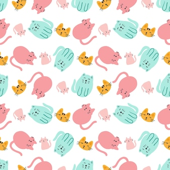 Colorful seamless vector pattern with cute animals on the background Premium Vector