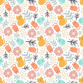 Colorful seamless vector pattern with cute animals and leaf on the background