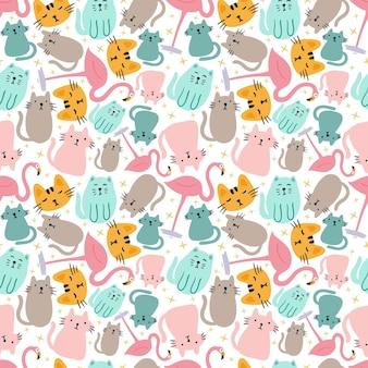배경에 귀여운 동물과 함께 다채로운 원활한 벡터 패턴