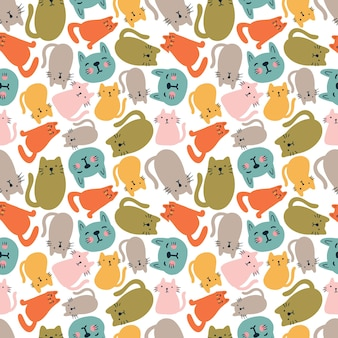 Colorful seamless vector pattern with cute cat animals on the background