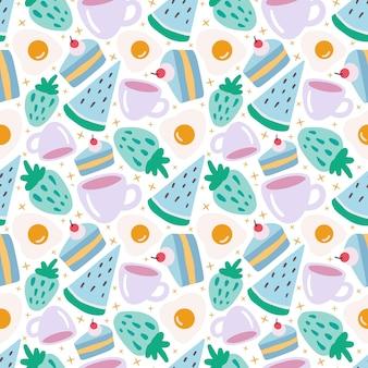 배경에 디저트 음식과 컵이 있는 다채로운 원활한 벡터 패턴