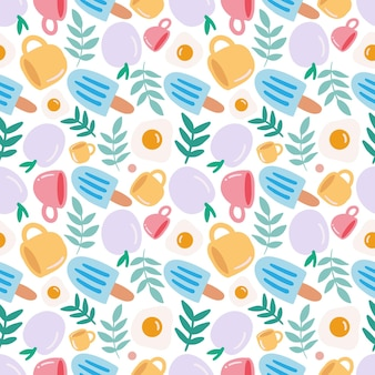 Colorful seamless vector pattern with dessert food and cup on the background