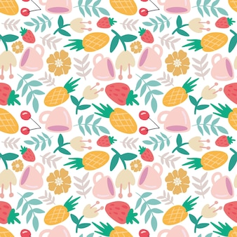 Colorful seamless vector pattern with food and cup on the background