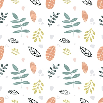 Colorful seamless vector pattern with various leaf on the background